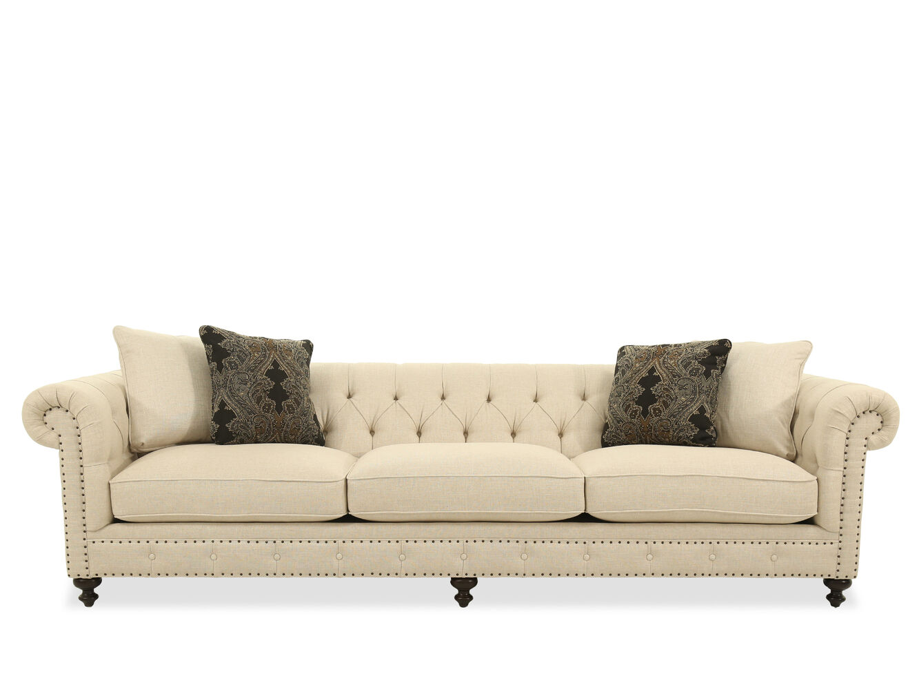 """Button-Tufted 116.5"""" Rolled Arm Sofa in White 