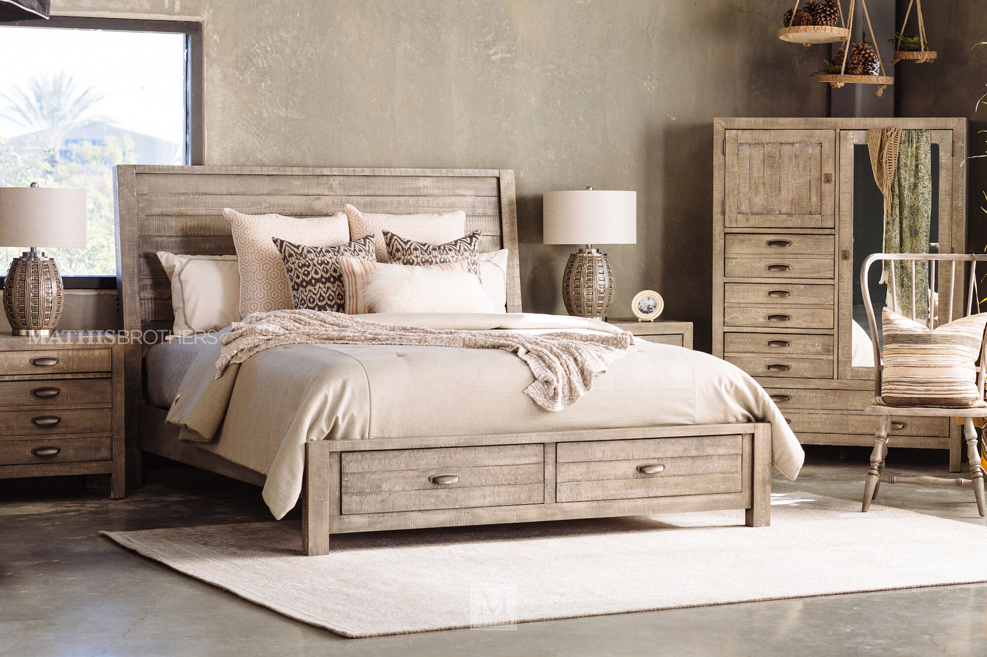2a455f04d3d9 Three-Piece Solid Wood Storage Bedroom Set in River Rock | Mathis ...