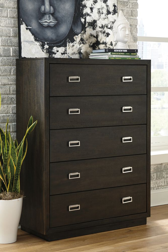 42 Contemporary 5 Drawer Chest In Espresso Mathis Brothers Furniture