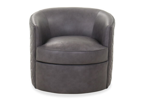 "Casual 31.5"" Leather Swivel Chair in Gray"