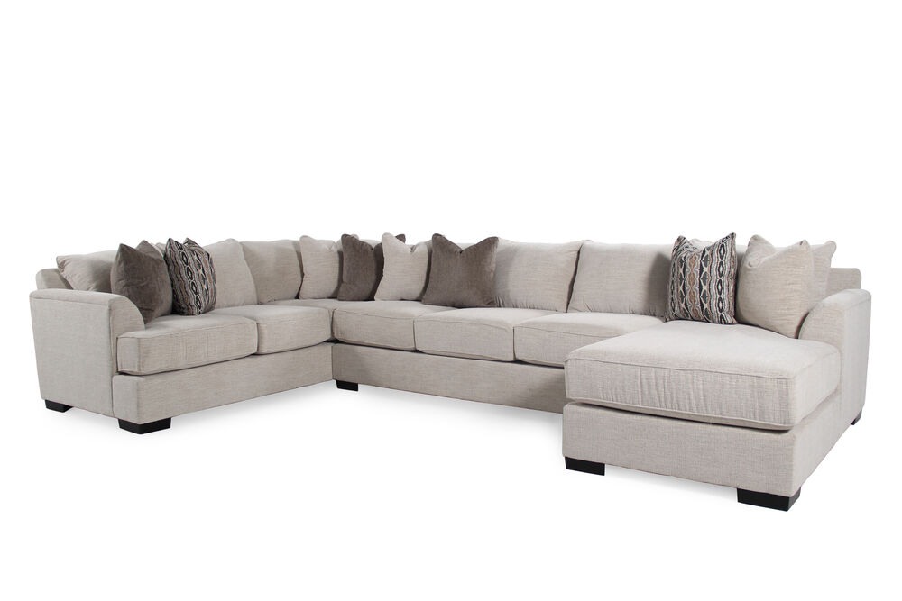 Three Piece Contemporary 180 Sectional In Café Au Lait Mathis Brothers Furniture