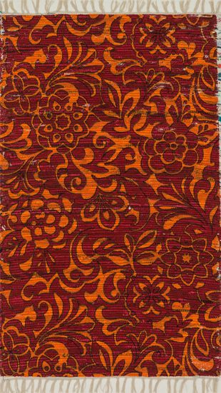 "Transitional 1'-8""x3' Rug in Red/Orange"