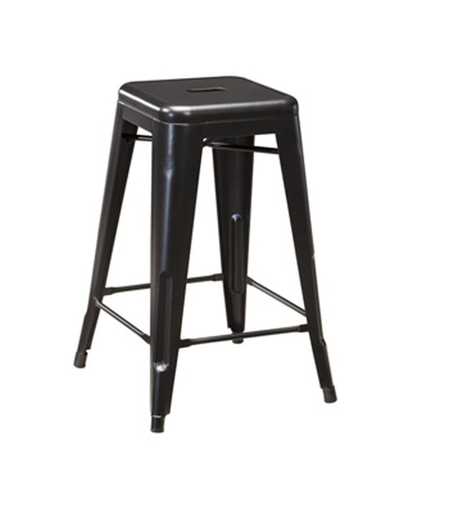 "Four Casual 26"" Backless Bar Stool in Black"