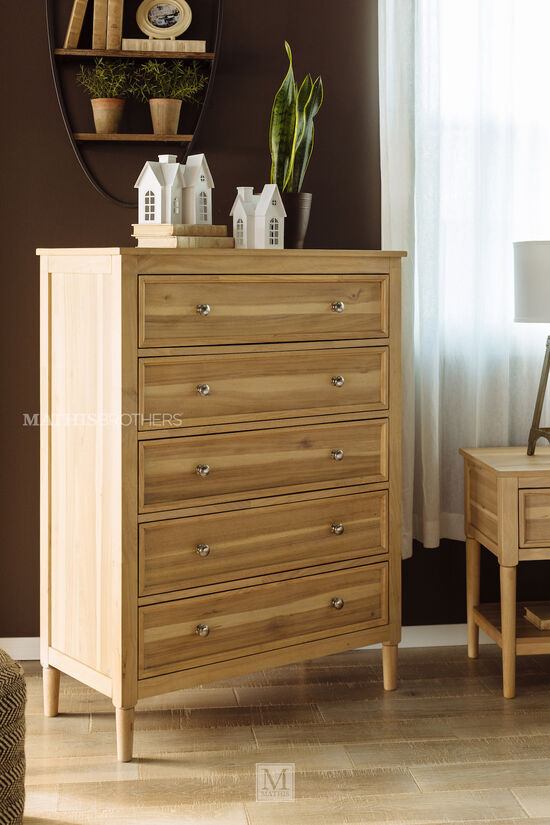 Five-Drawer Contemporary Chest of Drawers in Light Brown