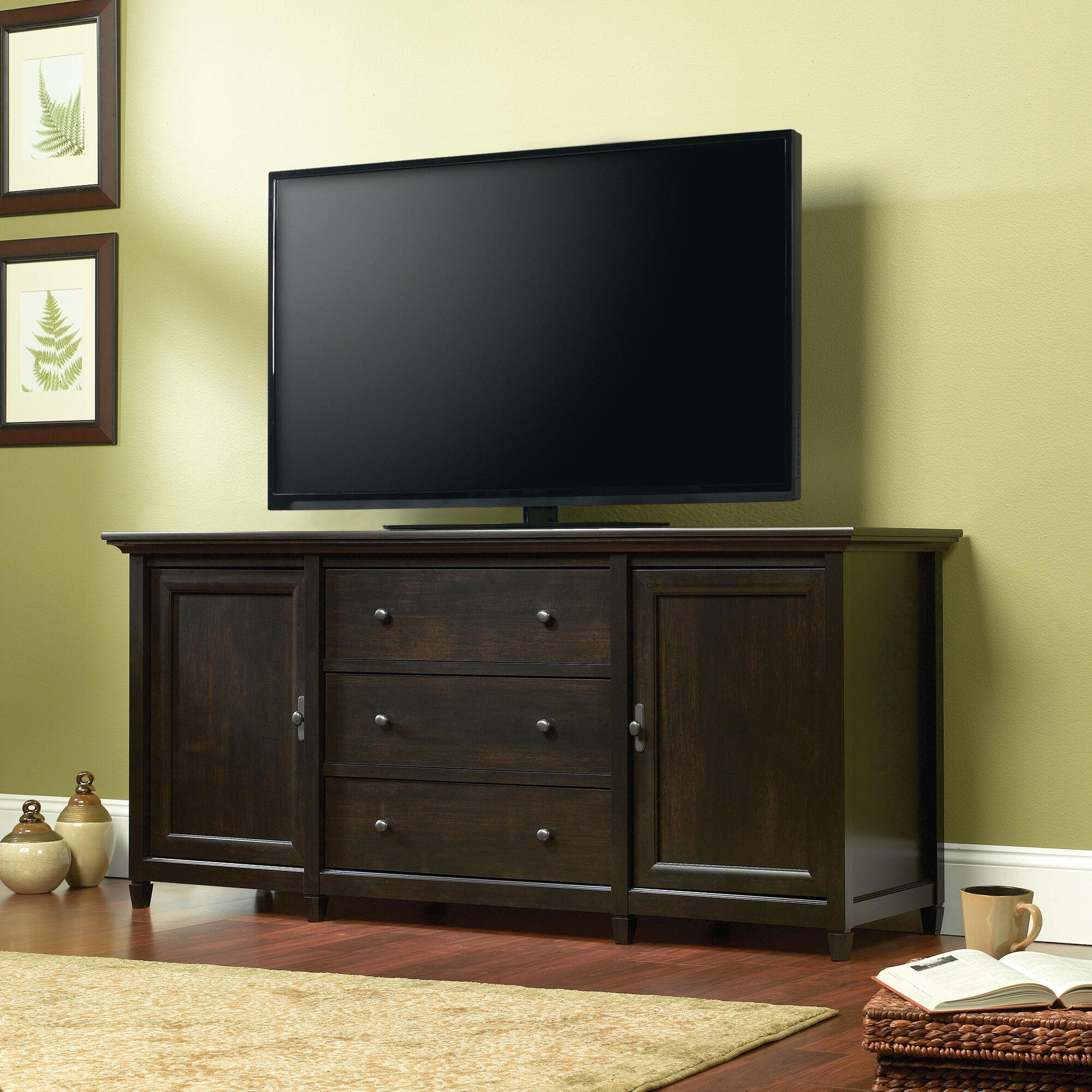 Solid Wood Tv Credenza: Three-Drawer Solid Wood Credenza In Estate Black