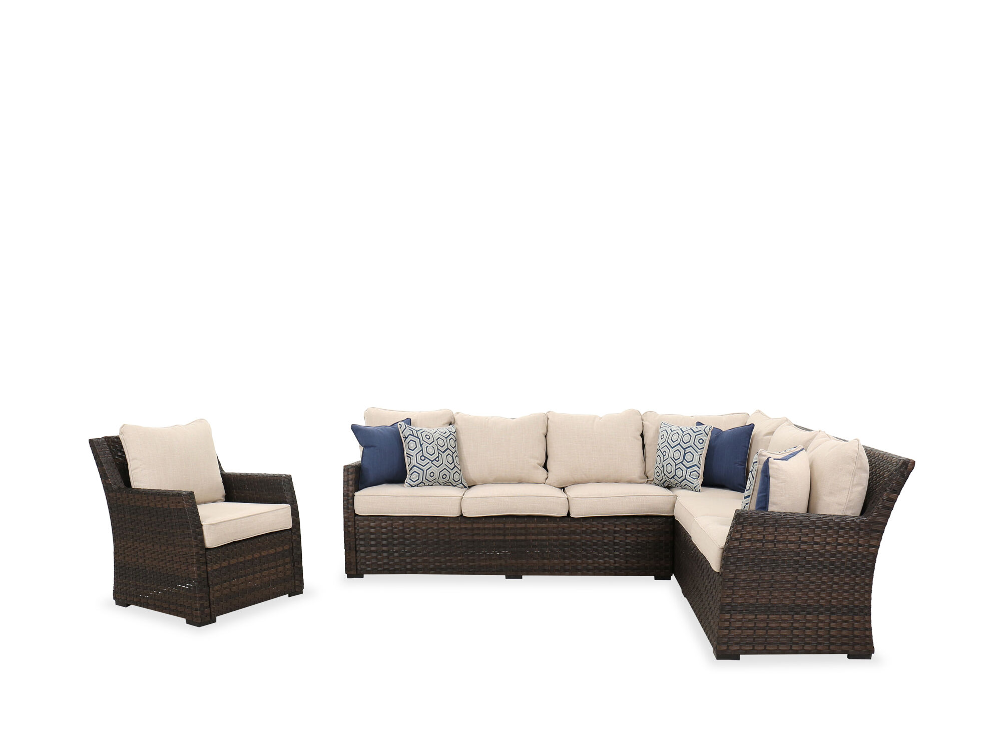 Three-Piece Contemporary Sofa Set in Brown | Mathis Brothers Furniture