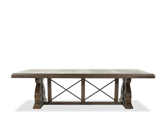 "Traditional 136"" Rectangular Dining Table in Brown"