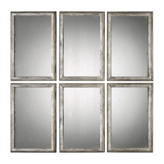 20'' Solid Wood Frame Mirrors in Burnished Silver Leaf