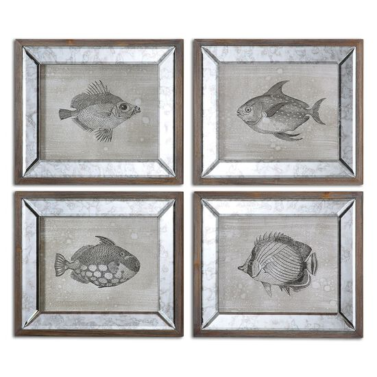 Four-Piece Fish Printed Framed Wall Art Set