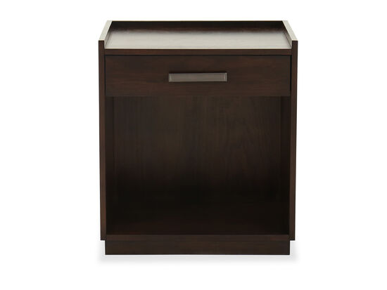 """24"""" Contemporary One-Drawer Nightstand in Dark Brown"""