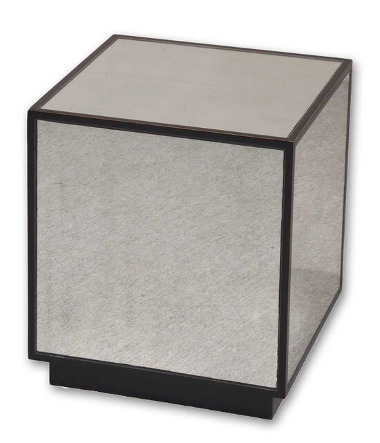 Mirrored Cube Table in Aged Black