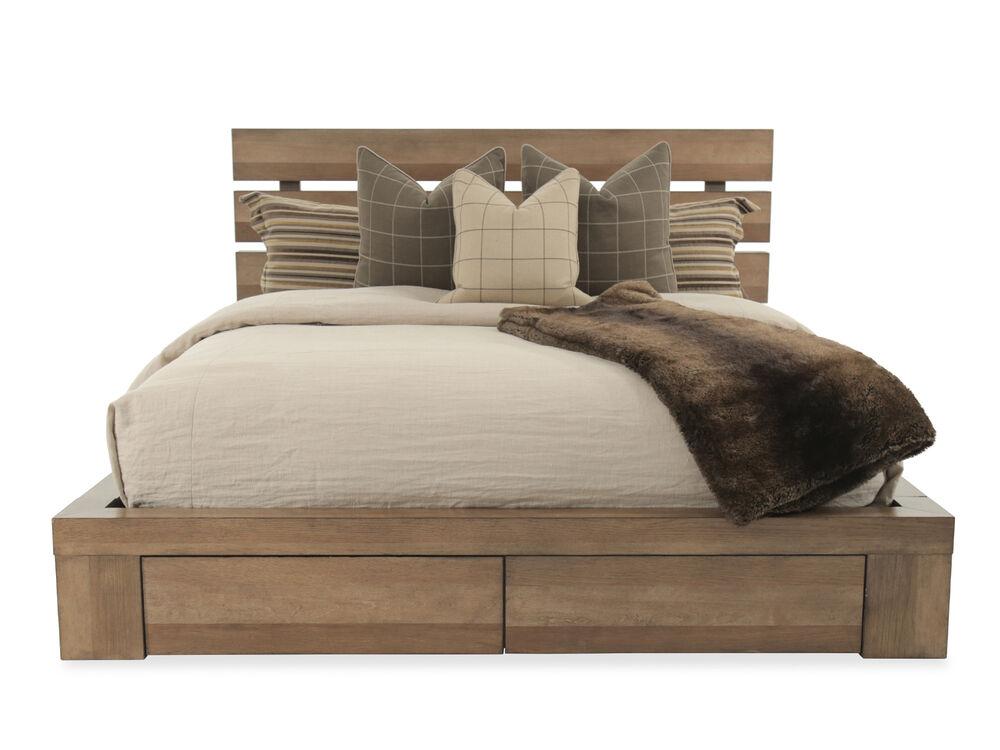 Mid-Century Modern Planked Storage Bed in Brown