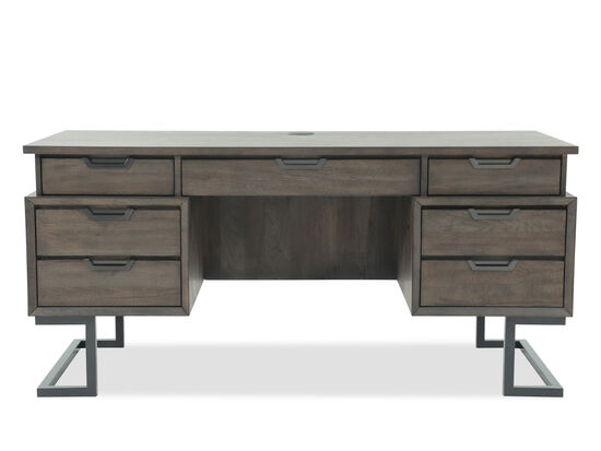 "66"" Mid-Century Modern Seven-Drawer Executive Desk in Dark Brown"