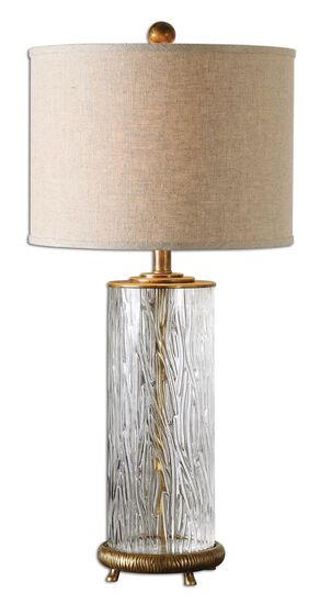Grooved Cylindrical Table Lamp in Oatmeal