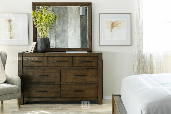 Two-Piece Contemporary Seven-Drawer Dresser and Mirror in Brown