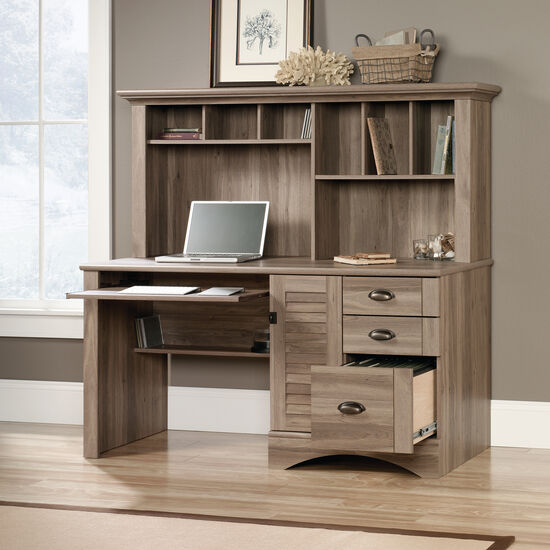 "62"" Transitional Three-Drawer Computer Desk with Hutch in Salt Oak"
