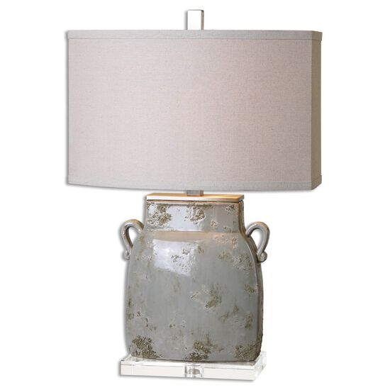 Textured Table Lampin Ivory Gray