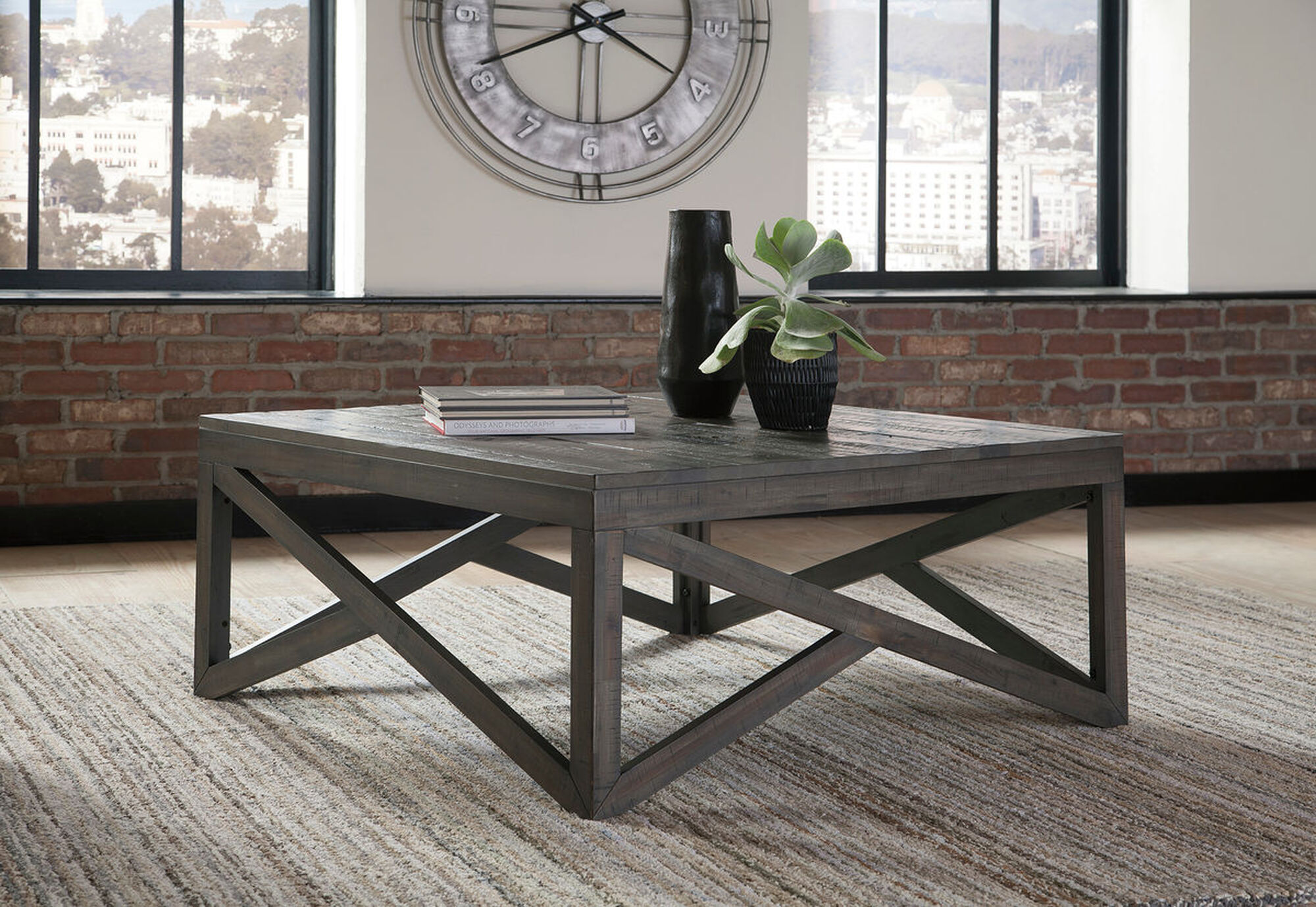 Haroflyn Gray Square Cocktail Table Mathis Brothers Furniture