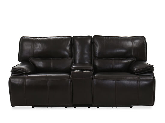 Casual Leather Power Reclining Loveseat in Brown