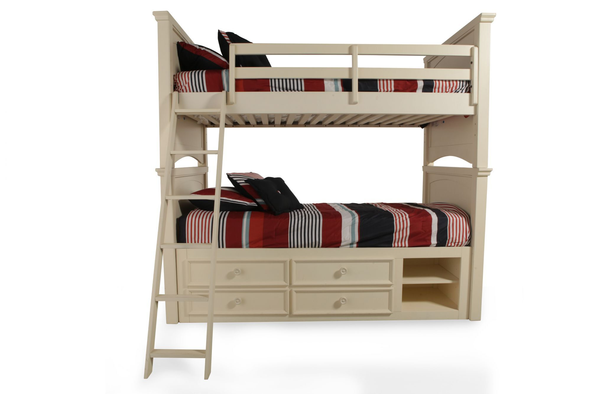 Traditional Youth Twin Over Twin Bunk Bed With Storage Unit In Cream