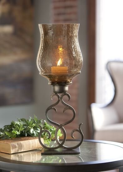 Scrolled Candle Holder in Antique Bronze