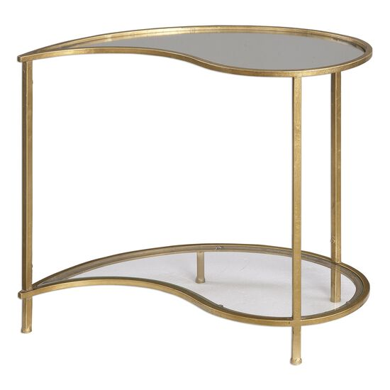 Mirrored Top Teardrop Bunching Side Table in Antiqued Gold