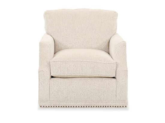 Traditional Nailhead Trim Swivel Chair in Parchment