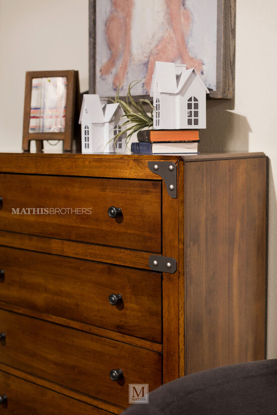 "48"" Five-Drawer Casual Chest in Dark Brown"