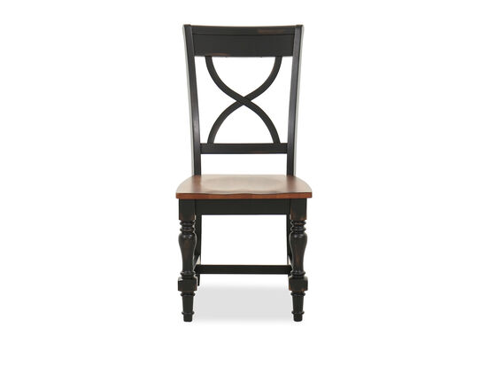 """Traditional 38.5"""" X-Back Side Chair in Black"""