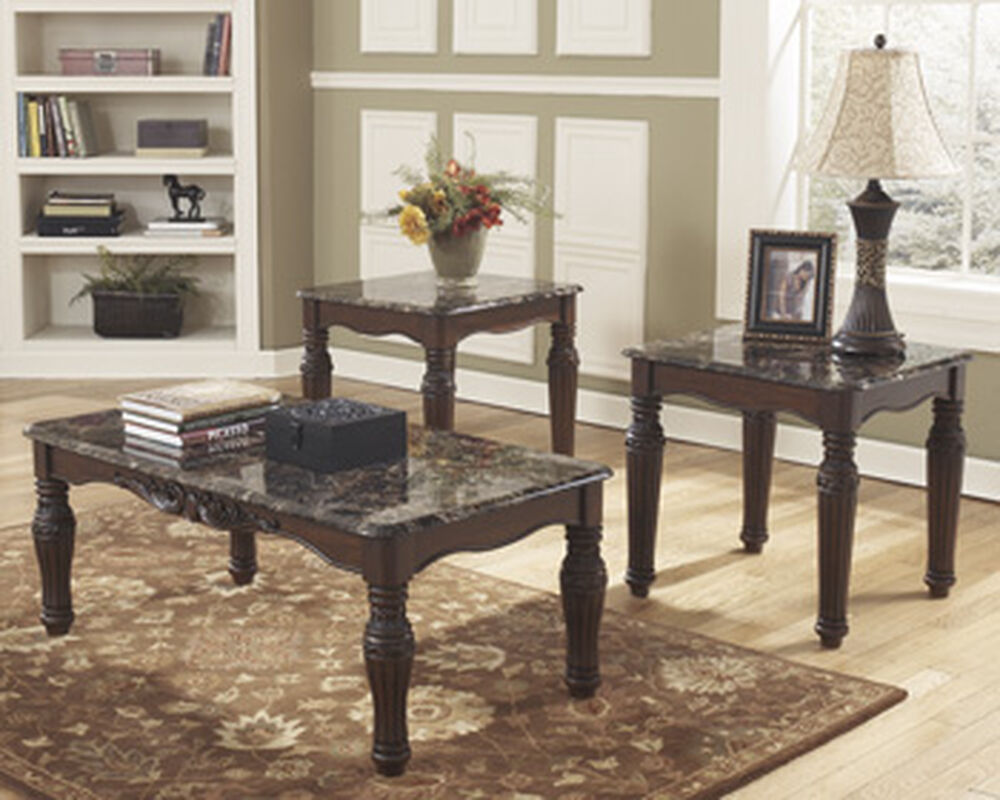 Three piece traditional accent table set in dark brown mathis brothers furniture