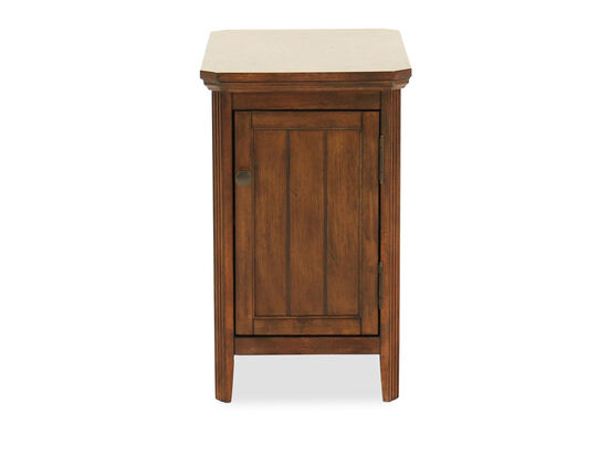 Traditional One-Door Chairside Accent Table in Dark Brown