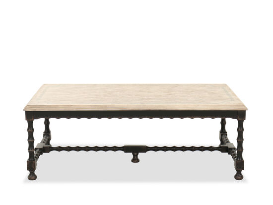 Casual Rectangular Cocktail Table in Flaky White