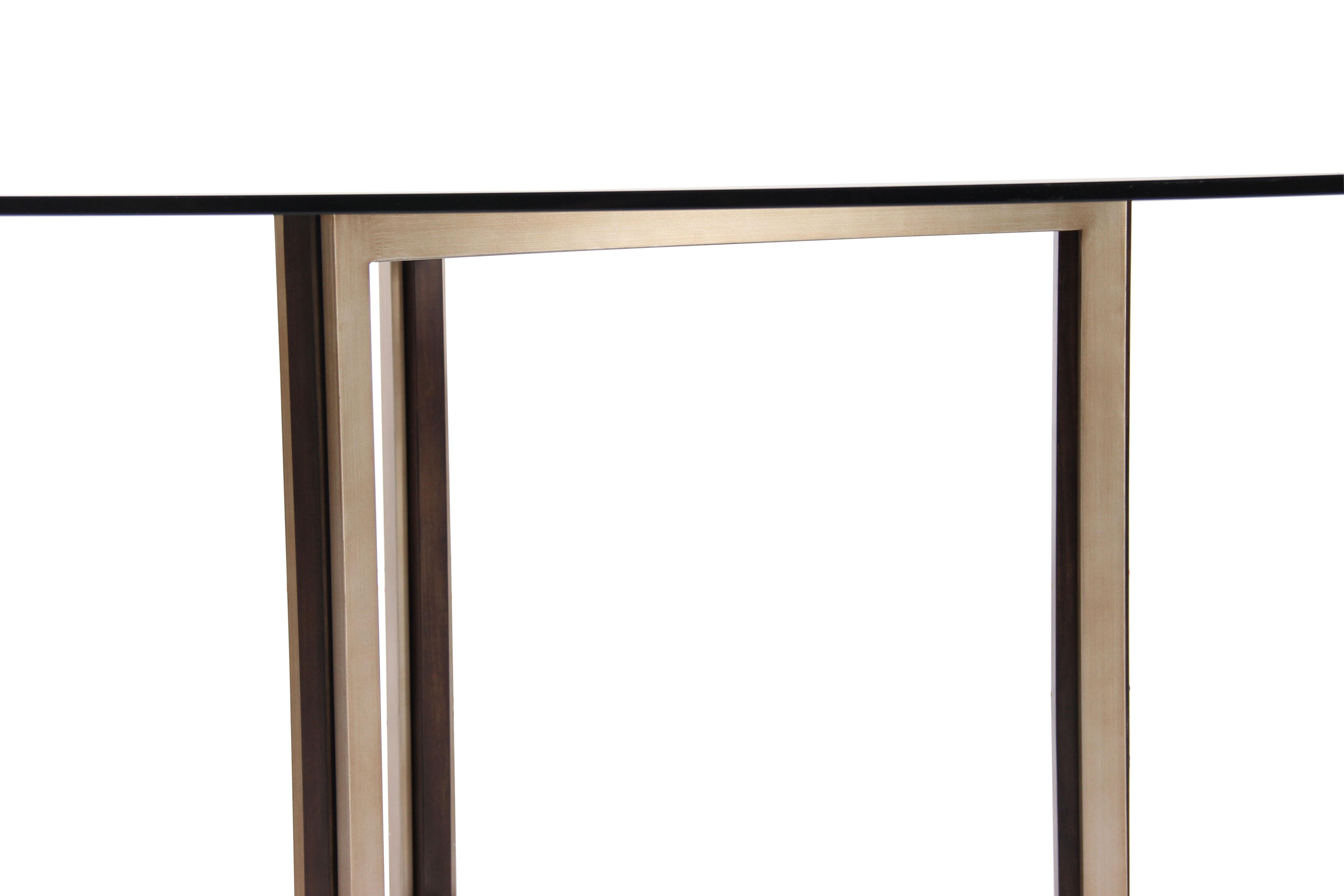 ... Contemporary 52u0026quot; Glass Top Dining Table In Matte Gold. U2039 U203a