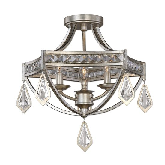 Crystal-Accented Three-Bulb Semi Flushmount Light in Silver Champagne
