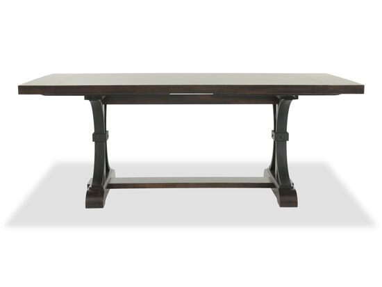 """Casual 102"""" to 126"""" Rectangular Trestle Table in Dark Brown"""