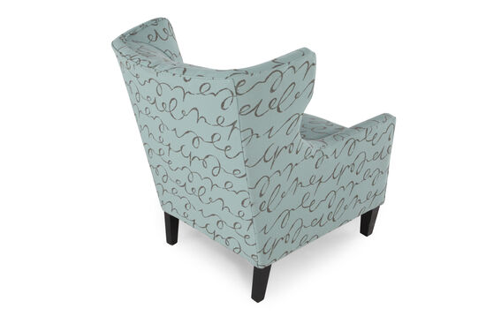 """Wing-Back Contemporary 31"""" Chair in Sea Green"""