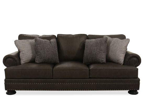 "Contemporary Nailhead-Accented 98"" Sofa in Grey"
