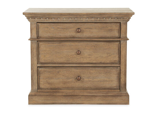 "29"" Traditional Three-Drawer Bedside Chest in Aged Oak"