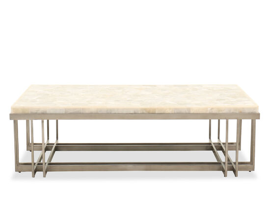 Rectangular Contemporary Cocktail Table in Pewter
