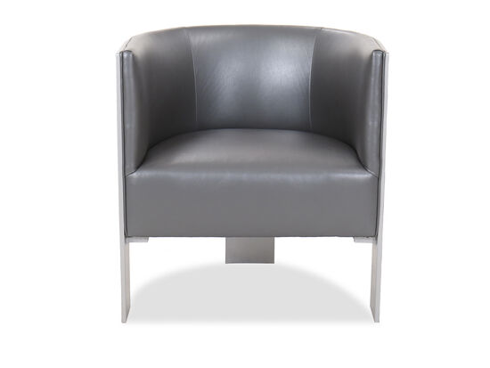 Barrel Back Leather 28'' Chair in Gray