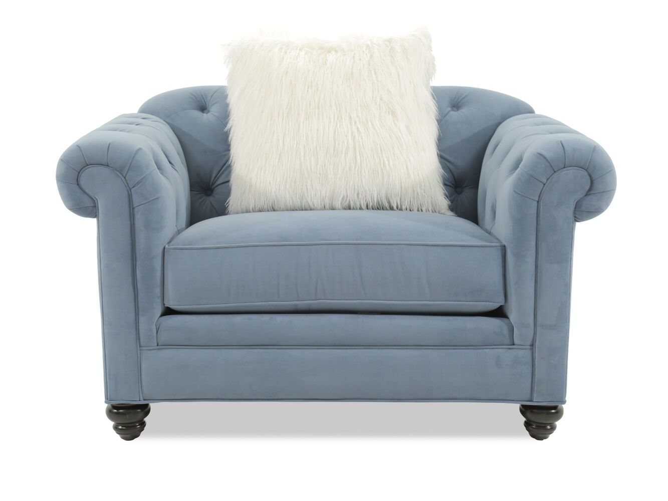 Button tufted microfiber arm chair in blue mathis