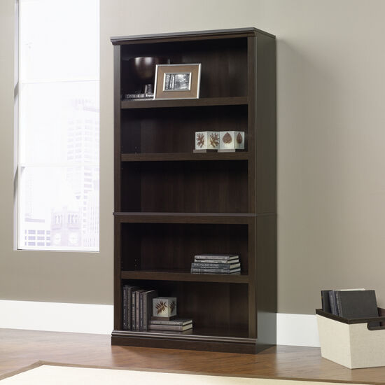 Transitional Adjustable Shelf Bookcase in Cinnamon Cherry