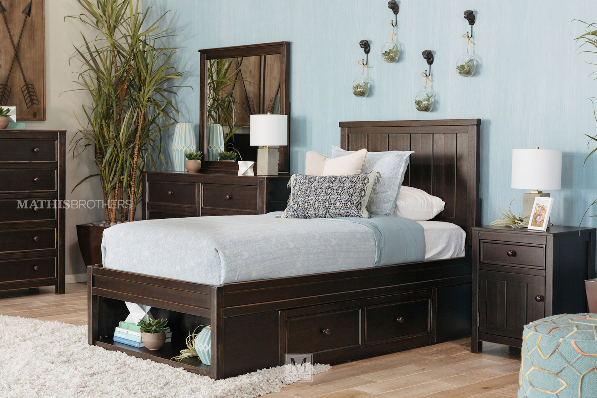 Traditional planked youth storage bed in black mathis - Youth bedroom furniture with storage ...