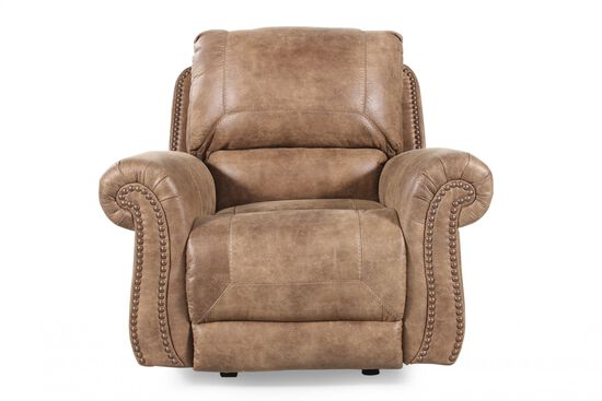 "Nailhead-Trimmed Traditional 34"" Rocker Recliner in Brown"