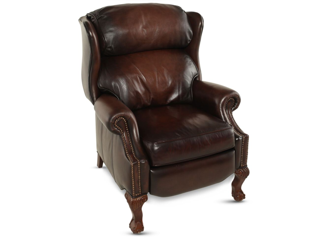 "Leather Nailhead Accented 32.5"" Wingback Recliner in Brown ..."