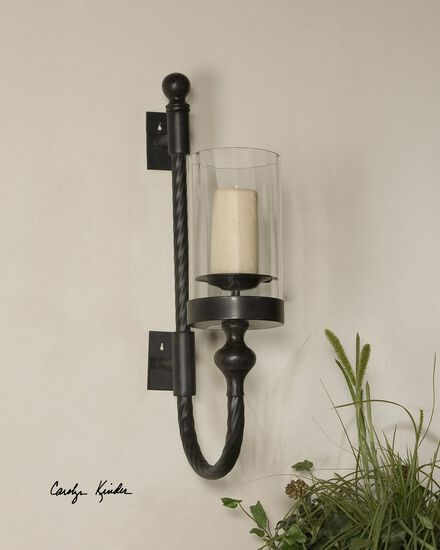 Twist Candle Wall Sconcein Aged Black