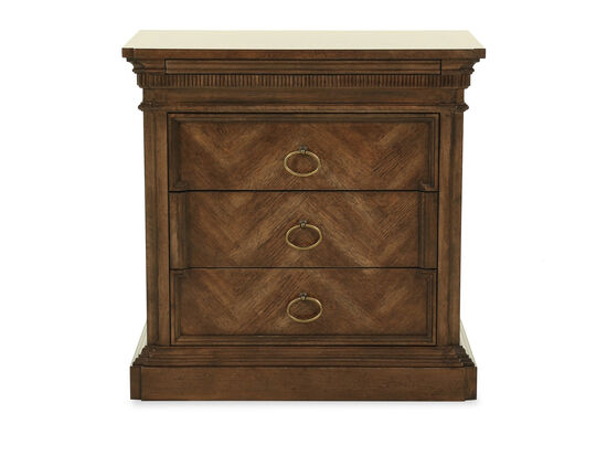 Three-Drawer Traditional 30'' Nightstand in Dark Brown