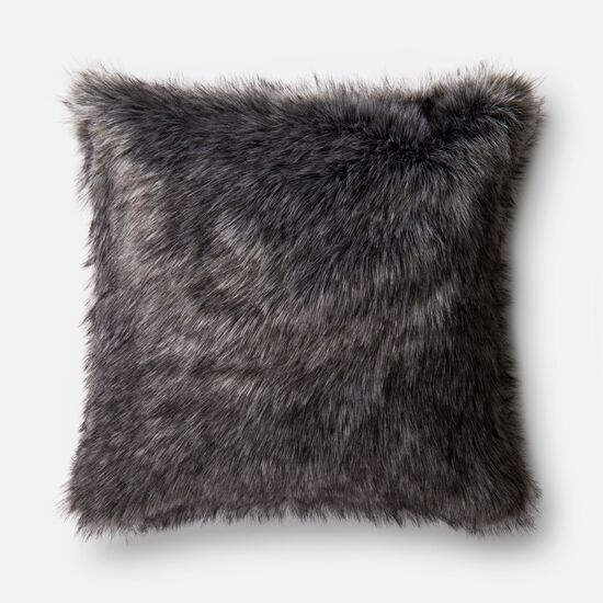 "Contemporary 22""x22"" Pillow Cover Only in Black/Grey"