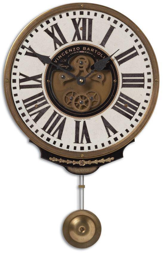 Roman Numeral Pendulum Wall Clock in Cream