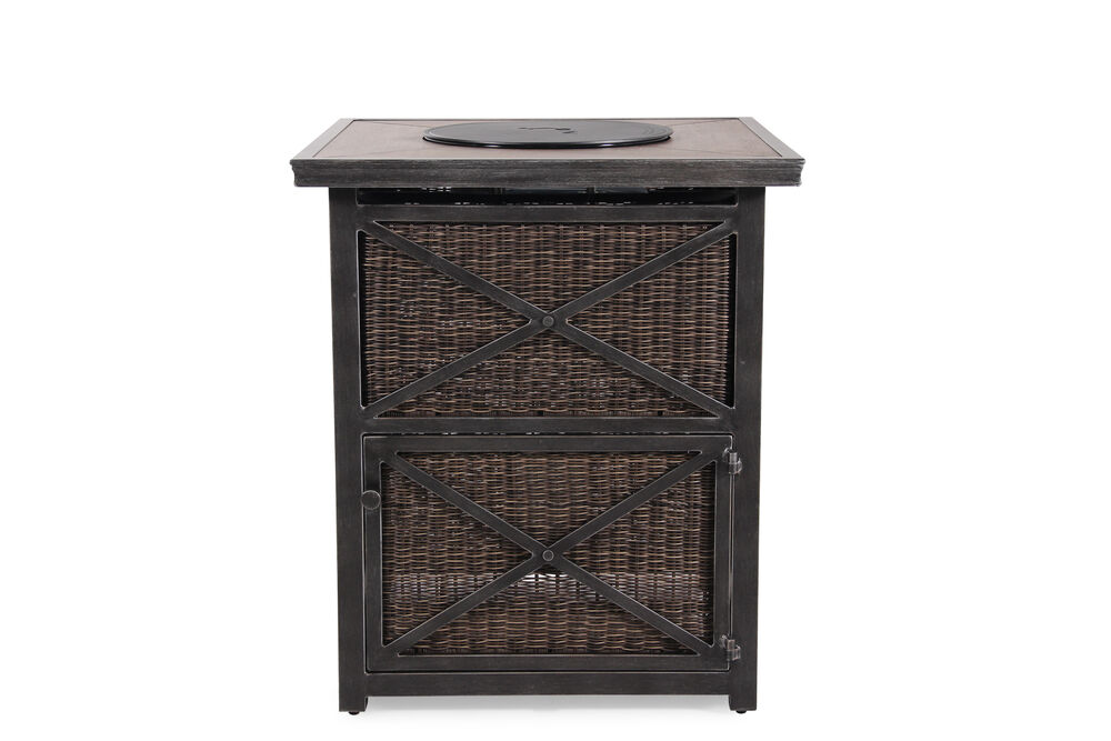 X-Motif Weathered Aluminum Bar Fire Pit in Black